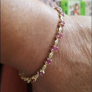 14K Beautiful Ruby & Diamond Bracelet